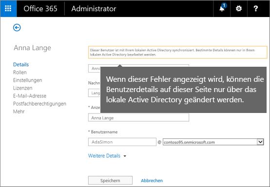 Fehler, wenn Benutzerdetails nur in Active Directory geändert werden können