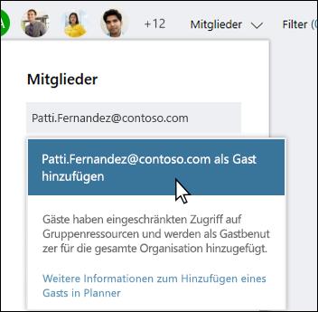 Bildschirm erfassen: mit auffordern anfragt, ob Gastbenutzer hinzugefügt werden sollen.
