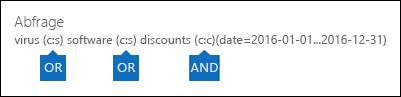 Beispiel für die Abfrage, die unter Verwendung der Schlüsselwortliste und einer Bedingung erstellt wird