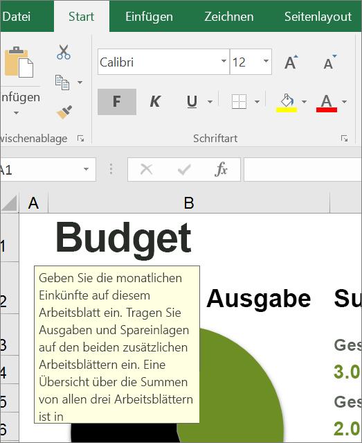 Bildschirmausschnitt der Excel-Benutzeroberfläche mit integrierter Anleitung