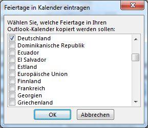 Dialogfeld zur Feiertagsauswahl für Land/Region