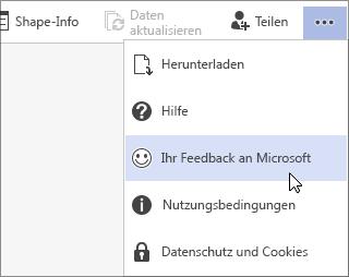 """Schaltfläche """"Weitere Befehle anzeigen"""", Befehl """"Ihr Feedback an Microsoft"""""""