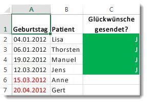 Beispiel für eine bedingte Formatierung in Excel
