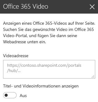 Screenshot des Dialogfelds der Office 365-Videoadresse in SharePoint.