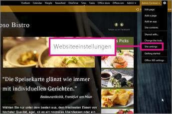 """Wählen Sie im GoDaddy Website Builder den Eintrag """"Site Settings"""" aus"""