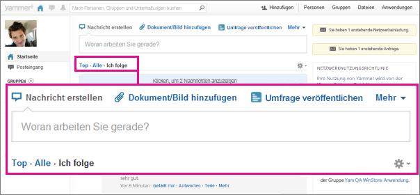Screenshot der Yammer-Website mit einem rosa Rahmen, der das Steuerelement zum Umschalten zwischen den Ansichten 'Top', 'Alle' und 'Ich folge' hervorhebt