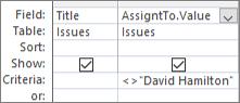 Abfrageentwurfsbereich mit. Wert Format für Nachschlagefeld