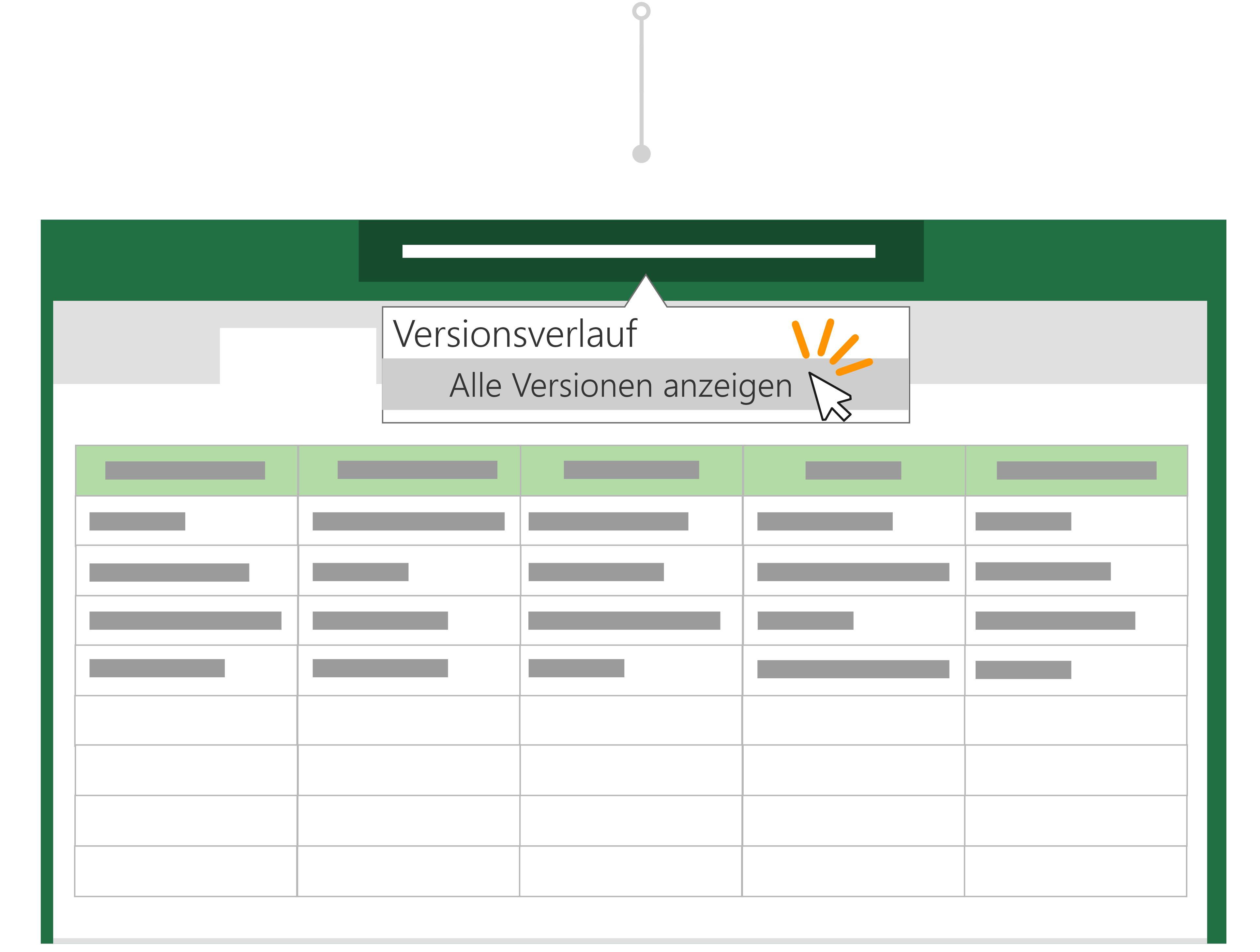 Verwenden Sie den Versionsverlauf, um zu einer früheren Version einer Datei zurück zu wechseln.