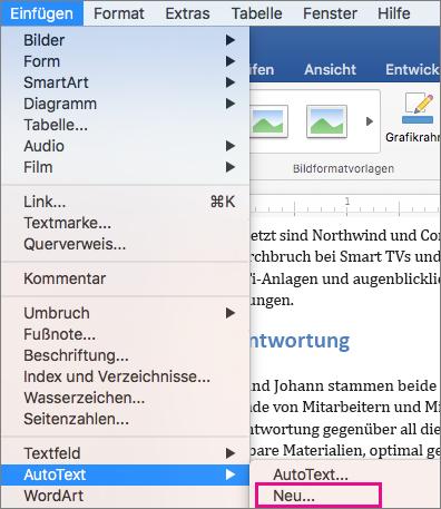 "Menü ""Einfügen"", ""AutoText"" > ""Neu"" hervorgehoben"
