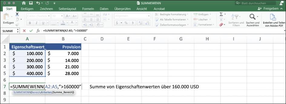 Screenshot von Excel-Daten mithilfe der Funktion SUMIF