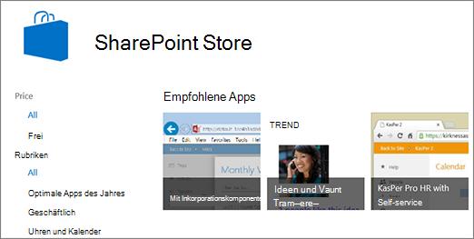 Ansicht der SharePoint Store-App-Auswahl