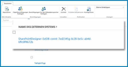 Ein Screenshot des Menübands bei aktiver Ansicht 'Externe Systeme' in BCS von SPO.