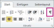"""Klicken Sie auf der Registerkarte """"Start"""" auf das Symbol für ausgeblendete Zeichen."""