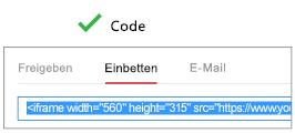 """Für eine ordnungsgemäße Funktion muss der von Ihnen zum Einbetten des Videos verwendete Code entweder mit """"iFrame"""" oder mit """"<object>"""" beginnen."""
