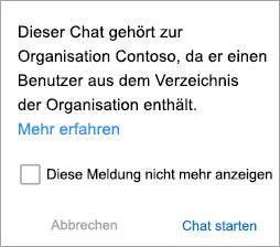 Screenshot mit Benachrichtigung, dass es sich bei dem Chat um einen Organisations-Chat handelt