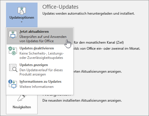 """Schaltfläche """"Office Insider-Updates jetzt abrufen"""""""