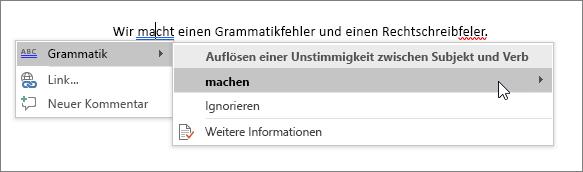 Office 365 – Beispiel für Rechtschreibung und Grammatik