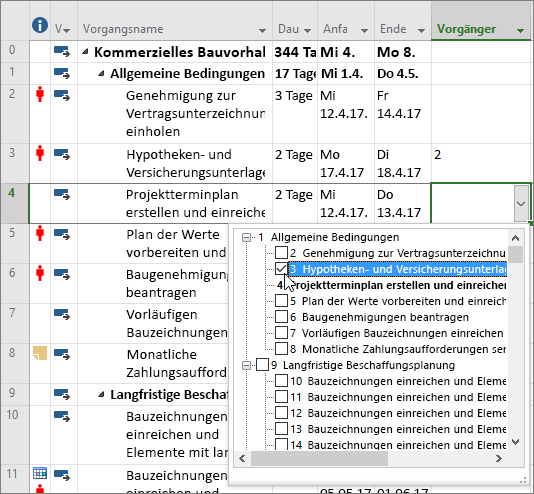 Screenshot der Vorgänger-Spalte Dropdown-Menüs in Project