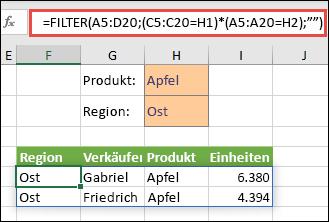 """Verwendung von FILTER mit dem Multiplikationsoperator (*): Gibt alle Werte im Arraybereich (A5:D20) zurück, die """"Apfel"""" UND """"Ost"""" lauten."""