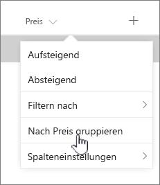 GroupBy Option Spalte Kopfzeile Menü