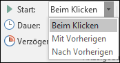 Startoptionen für Animationen in PowerPoint