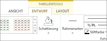 Position von 'Tabellentools'