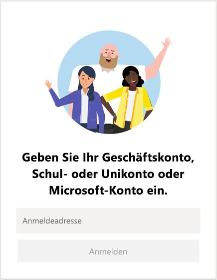 Anmelden bei Microsoft Teams