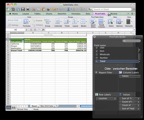 Excel-Arbeitsmappe mit der neuen PivotTable-Oberfläche