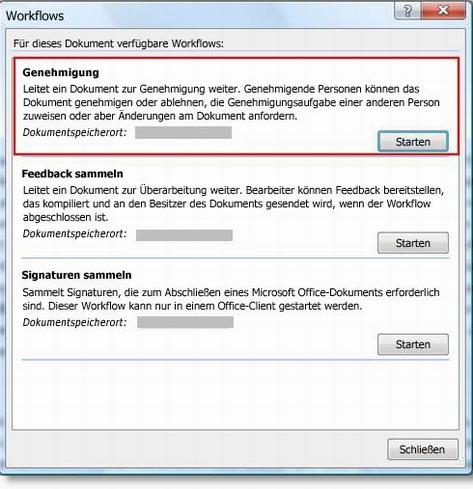 Dialogfeld 'Workflows'
