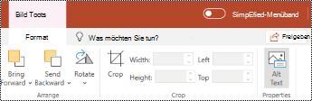 """Schaltfläche """"Alternativ Text"""" im Menüband für ein Bild in PowerPoint Online."""