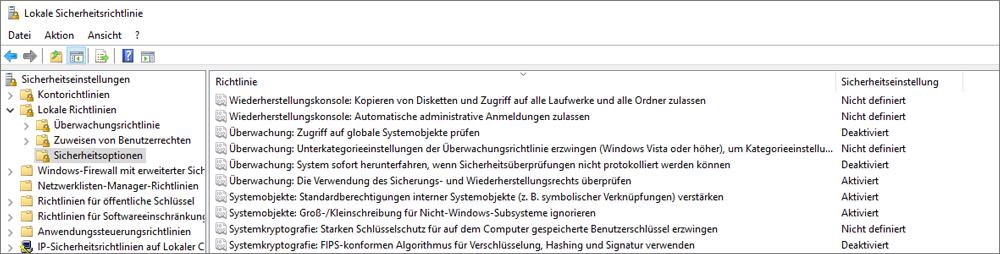 """Fenster """"lokale Sicherheitsrichtlinie"""" mit Sicherheitsoptionen, die die korrigierten OneDrive-Einstellungen anzeigen"""