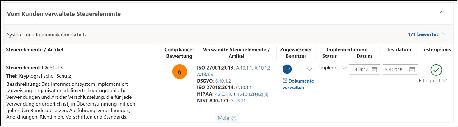 Compliance-Manager-Bewertung – NIST 800-53 SC(13) abgeschlossen