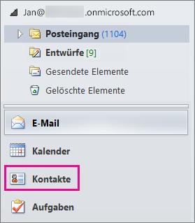 """Um Ihre Kontakte anzuzeigen, wählen Sie am unteren Rand des Outlook-Navigationsmenüs die Option """"Kontakte"""" aus."""