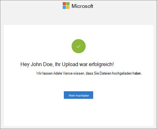 Die Benachrichtigung, die nach einem erfolgreichen Dateiupload als Antwort auf eine Datei Anforderung in OneDrive for Business empfangen wurde.