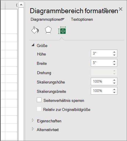 Sie können die Diagrammgröße Diagrammbereich formatieren Sie im Dialogfeld Anpassen.