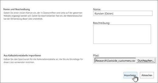 """Dialogfeld """"Neue App"""" mit Name und Dateispeicherort ausgefüllt, """"Importieren"""" hervorgehoben"""