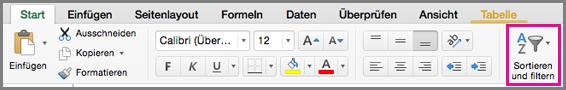 """Excel für Mac-Befehl """"Sortieren und filtern"""""""
