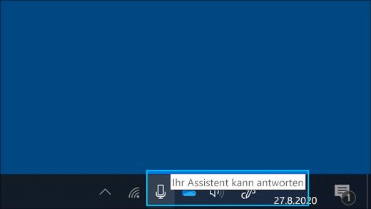 Screenshot des Mikrofonsymbols, wenn der Assistent zuhört