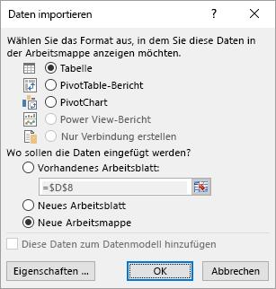 """Dialogfeld """"Daten importieren"""" in Excel"""