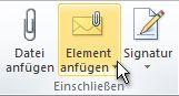 """Befehl """"Element anfügen"""" im Menüband"""
