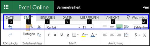 """Excel für das Web-Menüband mit der Registerkarte """"Start"""" und Zugriffstasteninfos auf allen Registerkarten"""