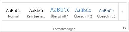 """Screenshot der Gruppe """"Formatvorlagen"""" auf der Registerkarte """"Start"""" mit Formatvorlagen wie """"Überschrift 1"""", """"Überschrift 2"""" und """"Überschrift 3"""""""