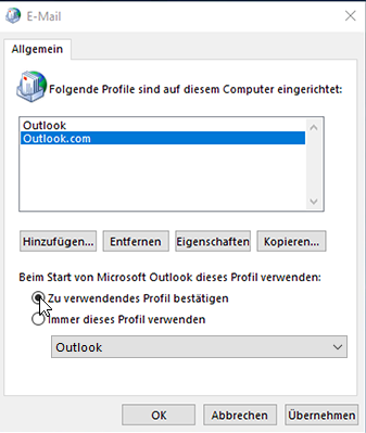 Screenshot des Dialogfelds für Profile in Outlook