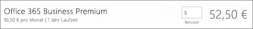 Nahaufnahme der Auscheckseite, auf der Sie die Anzahl der Benutzer bestätigen können, die in Ihr neues Abonnement einbezogen werden sollen