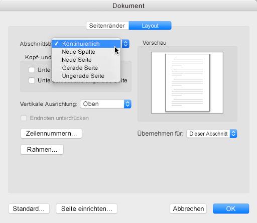 """Zum Ändern eines Abschnittsumbruchs in fortlaufend wechseln Sie zum Menü """"Format"""", klicken Sie auf """"Dokument"""", und legen Sie dann den Abschnittsbeginn auf """"Fortlaufend"""" fest."""