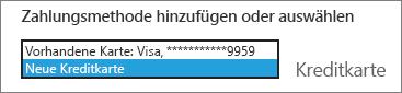 """Screenshot des Dropdownmenüs mit ausgewähltem Eintrag """"Neue Kreditkarte"""""""
