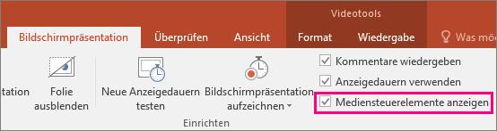Abbildung der Optionen 'Mediensteuerelemente anzeigen' in PowerPoint