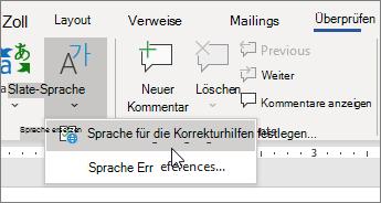 """Wählen Sie im Menü """"Sprache"""" auf der Registerkarte """"Überprüfen"""" """"Dokumentprüfungssprache festlegen"""" aus."""