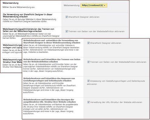 Einstellungsseiten von SharePoint Designer