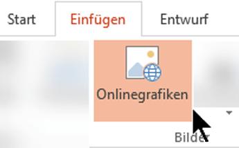 """Wählen Sie in der Symbolleiste des Menübands """"Einfügen"""" und dann """"Onlinebilder"""" aus."""